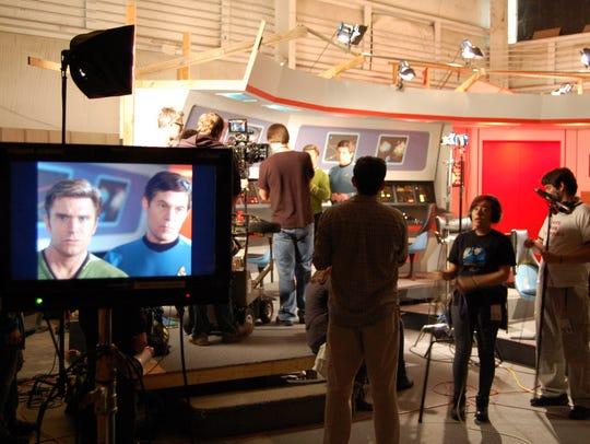 On the 'Star Trek Continues' bridge during filming