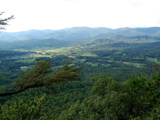 A view of Fairview Valley from Stony Point, a parcel recently conserved by the Southern Appalachian Highlands Conservancy.