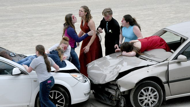 A mock crash was staged Tuesday morning at the Richland County Fairgrounds for juniors and seniors from local high schools.