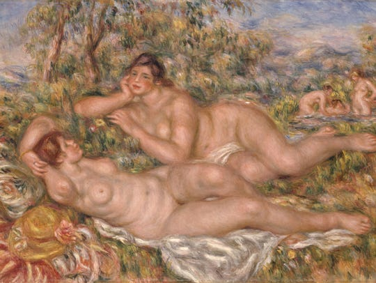 'The Bathers' (Les Baigneuses) 1919 is an oil and canvas