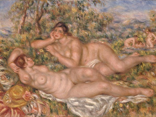 'The Bathers' (Les Baigneuses) 1919 is an oil and canvas work by Pierre-Auguste Renoir (1841–1919).