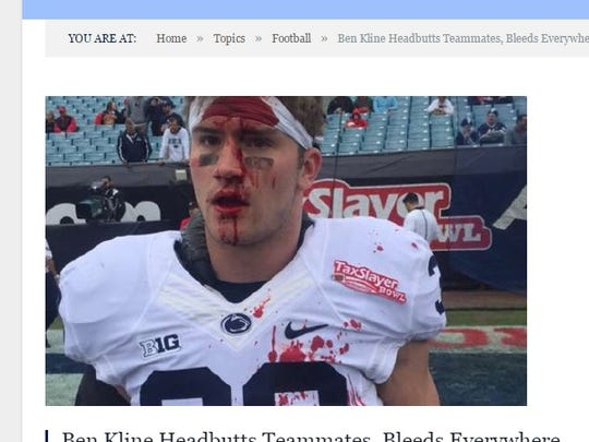 Dallastown High School graduate Ben Kline is shown here after a series of head butts with his Penn State teammates before the TaxSlayer Bowl. Kline wasn't wearing a helmet, but his teammates were.
