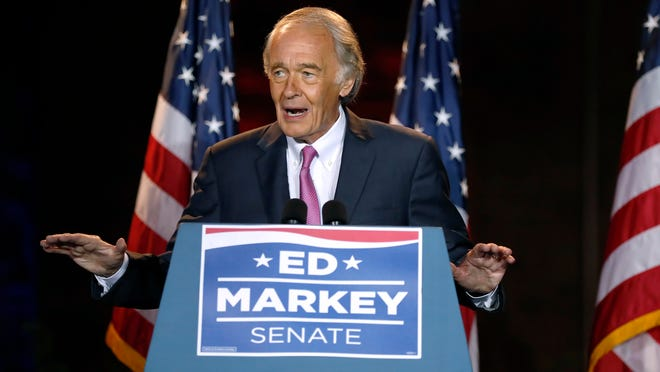 Incumbent U.S. Sen. Edward Markey speak in Malden after defeating U.S. Rep. Joe Kennedy III in the Massachusetts Democratic Senate primary.