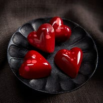 Red chocolates created by Kohler chocolatiers are popular during Valentines Day.