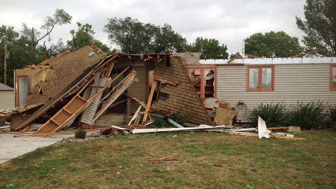 This house in Springfield lost its roof and garage in the storm early Monday.