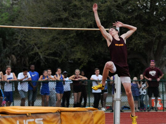 Tristan Schultheis clears the bar during the Astronaut Invitational Track and Field meet in Titusville.