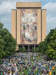 A general view of the Hesburgh Library at the University of Notre Dame. The Word of Life Mural is commonly known as Touchdown Jesus.