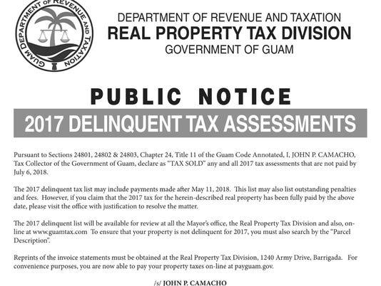 Delinquent tax assessment 2017
