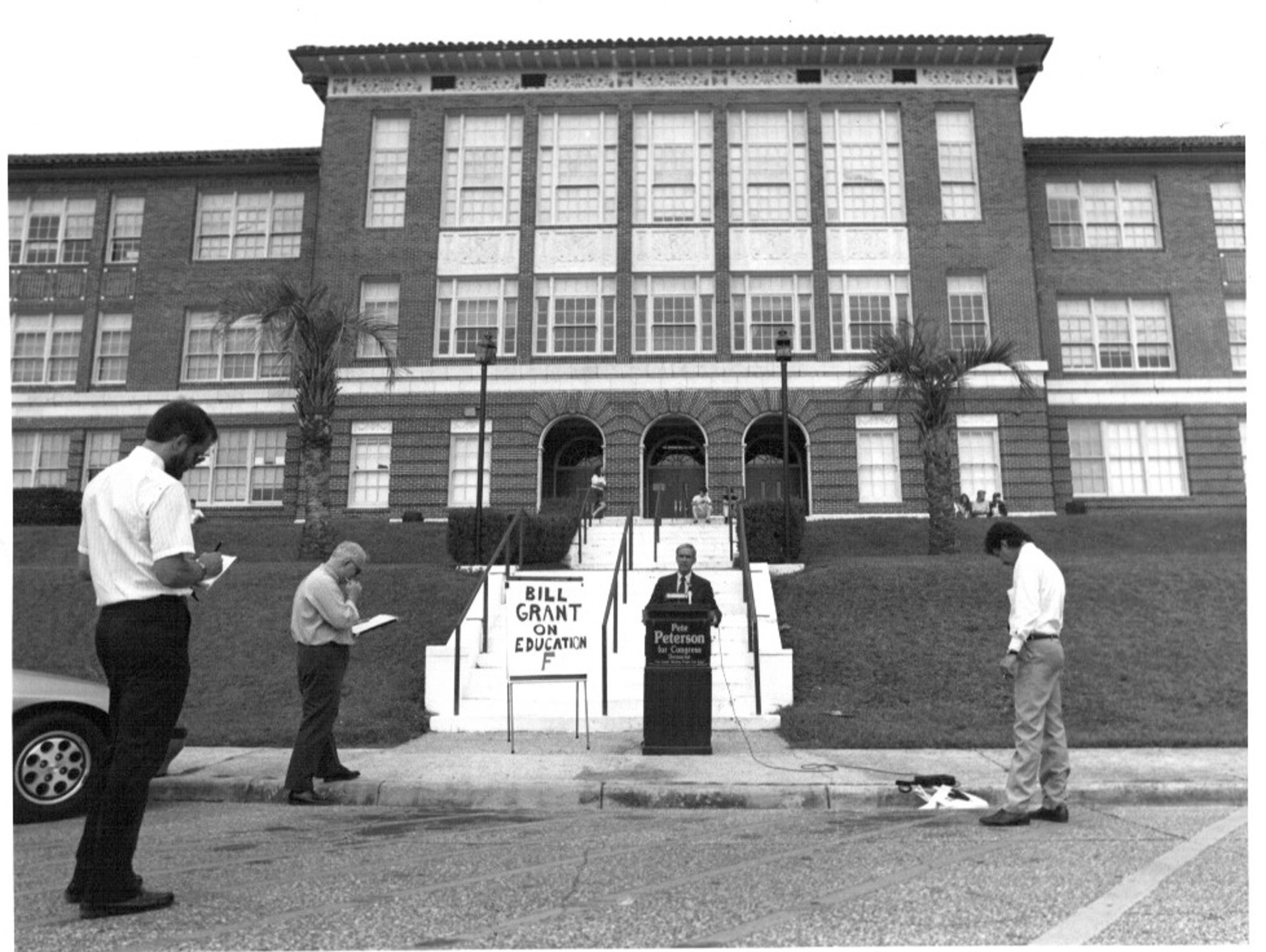 Peterson held a press conference at Leon High in 1990,
