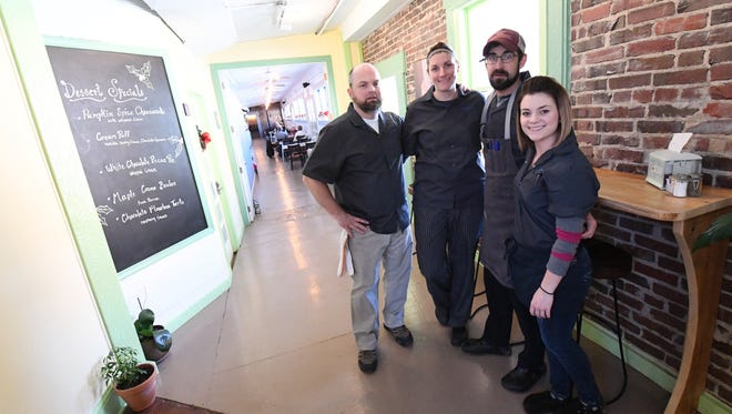 From left to right: Ken Paris, co-owner chef; Erinn Paris co-owner, pastry chef; Tyler Canon, chef; Nicole Brock. manager.