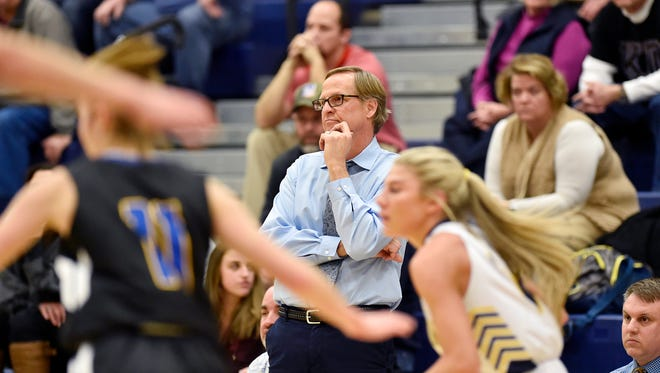 Kennard-Dale head basketball coach Bob Rudisill monitors the first half a YAIAA girls' basketball game Friday, Jan. 26, 2018, at Eastern York. Kennard-Dale defeated Eastern York 53-42 in double overtime.