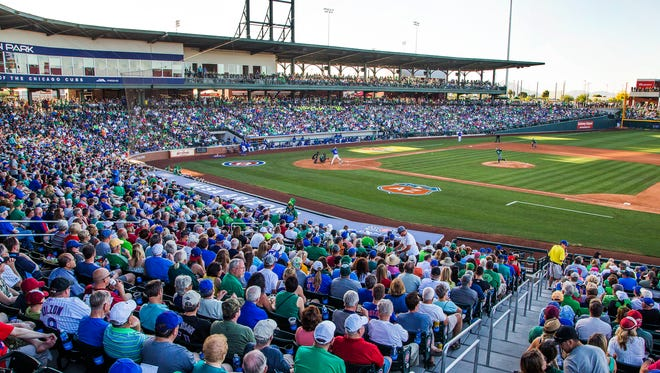 The Arizona Diamondbacks and the Chicago Cubs play at Sloan Park in Mesa, Thursday, March 17, 2016.