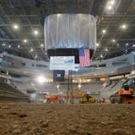 Scoreboard raised to the rafters of the Milwaukee Bucks' new $524 million arena