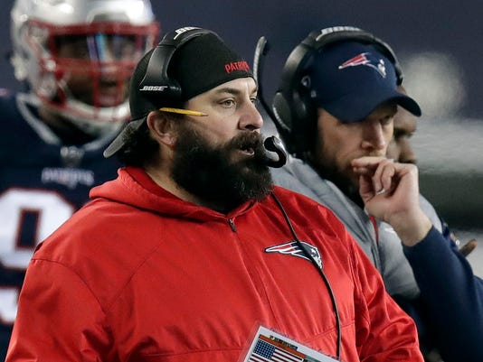 New England Patriots defensive coordinator Matt Patricia watches from the sideline during the second half of the AFC championship NFL football game against the Jacksonville Jaguars, Sunday, Jan. 21, 2018, in Foxborough, Mass. (AP Photo/Charles Krupa)