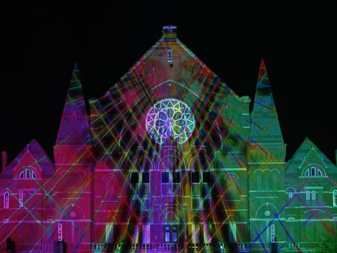 The dress rehearsal for the Lumenocity show in Washington Park.
