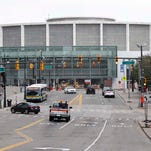 Renovation work on Cobo Center along Jefferson at the corner of Washington Blvd. continues in Detroit on Thursday, September 18, 2014.