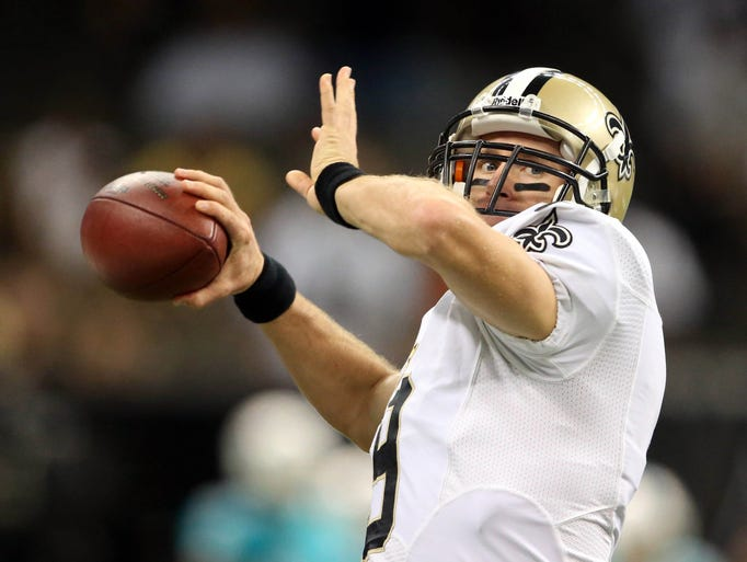 DREW BREES: New Orleans Saints quarterback Drew Brees threw for 413 yards and four touchdowns in Week 4, tying his own record of nine consecutive games of at least 300 passing yards.