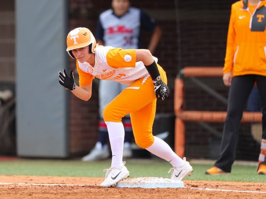 Tennessee outfielder Megan Geer prepares to run while at first base during Sunday's softball game against Ole Miss at Sherri Parker Lee Stadium. Geer had three RBIs in the Vols' 4-1 victory.