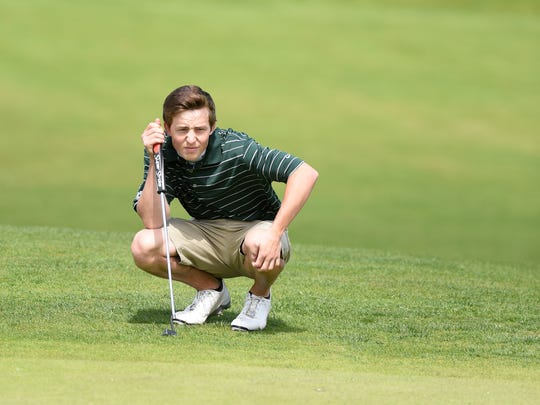 West Salem's Michiel Eyre competes Monday, May 4, the first day of the Greater Valley Conference district tournament, at Trysting Tree Golf Club in Corvallis.