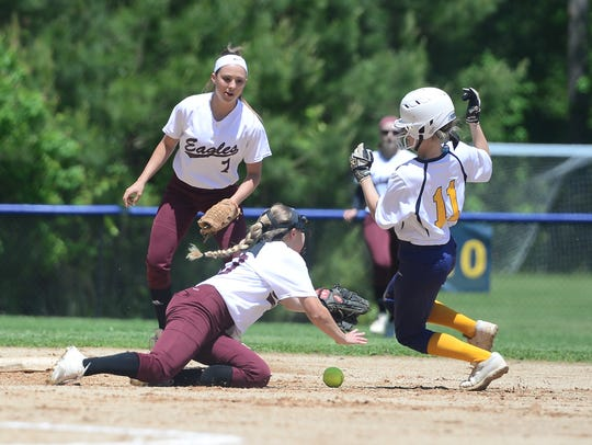 Pocomoke's Cristen Quillen dodges a tag from Snow Hill