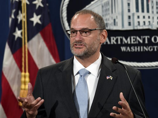 FILE - In this July 19, 2019, file photo, acting Director of the Bureau of Prisons Hugh Hurwitz speaks during a news conference at the Justice Department in Washington. Hurwitz has been removed from his post more than a week after millionaire financier Jeffrey Epstein took his own life while in federal custody. Attorney General William Barr announced Hugh Hurwitz's termination Monday, Aug. 19. (AP Photo/Susan Walsh, File)