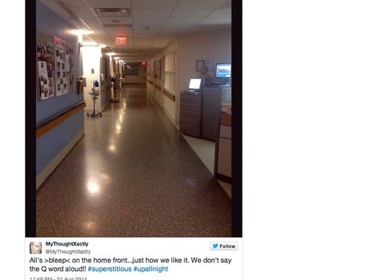 All's>bleep< on the home front…just how we like it. We don't say the Q word aloud! #superstitious #upallnight A Twitter comment from Reader MyThoughtXactly from the halls of U.Va. Medical Center August 21, 2014.