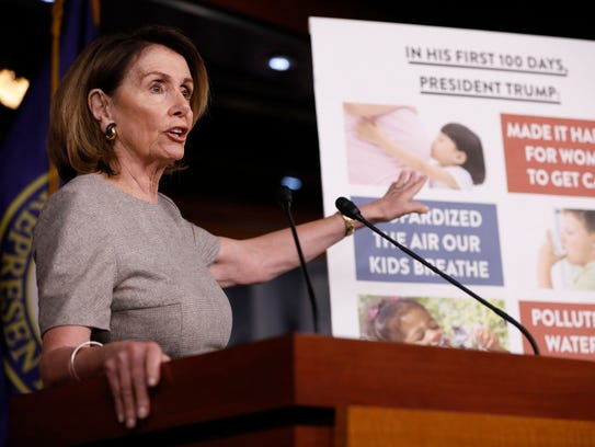 House Minority Leader Nancy Pelosi speaks at her weekly