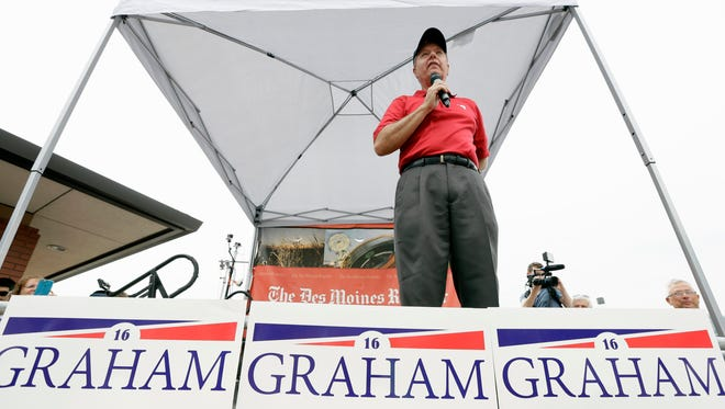 Sen. Lindsey Graham, R-S.C., speaks during a visit to the Iowa State Fair on Aug. 17, 2015, in Des Moines, Iowa.