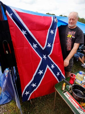 Larry Stevens proudly displays his confederate flag in the Ponderosa campground. July 11, 2015