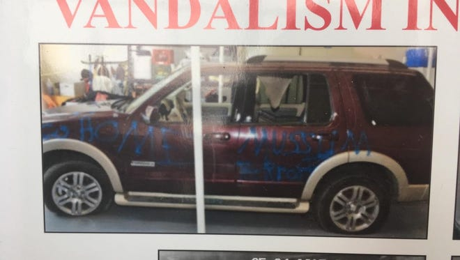 Vandalism on an SUV. Police are seeking information that leads to an arrest.