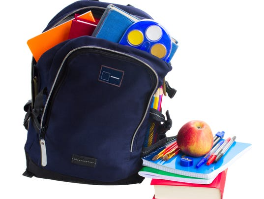 open school backpack with stationery