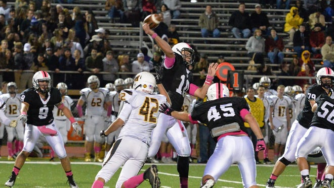 Bridgewater-Raritan QB Eric Nickel (10) gets a pass off during last Friday's game with Watchung Hills
