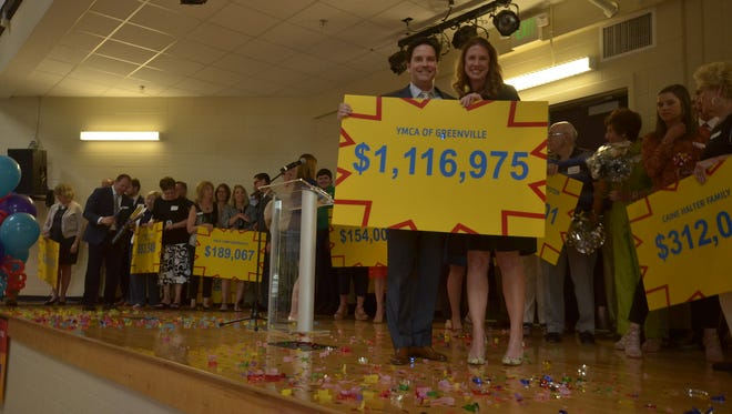 YMCA of Greenville supporter Steven Edgerton and campaign chair Elizabeth Milhous reveal the campaign total.
