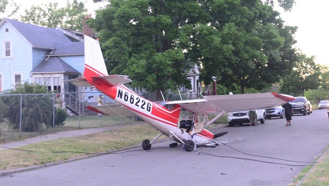 This small plane made an emergency landing on Detroit's east side June 28.