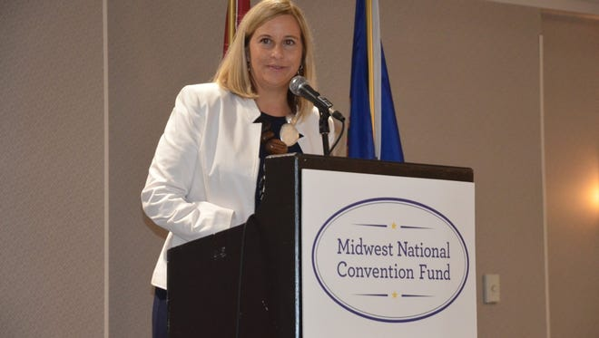 Nashville Mayor Megan Barry speaks to both Tennessee's and Minnesota's delegations Wednesday morning in Philadelphia.
