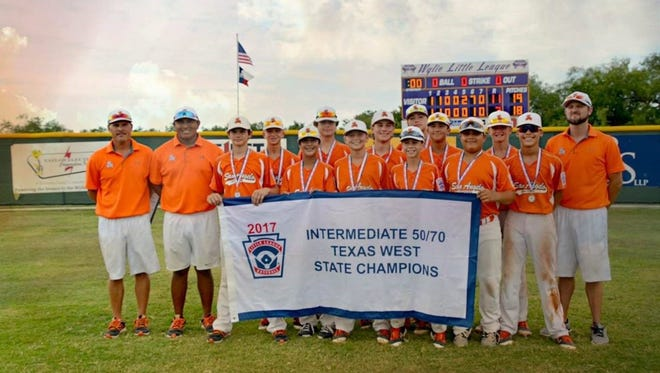 San Angelo's Western Little League All Stars pose after beating Laredo to become Texas West champs.