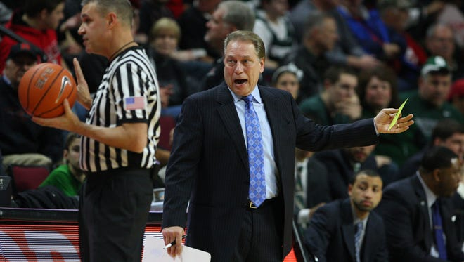 Michigan State head coach Tom Izzo reacts after a flagrant foul was called against one of his players Thursday at Rutgers.