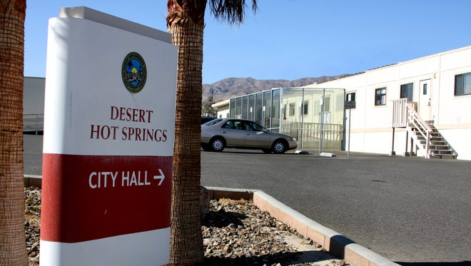 Desert Hot Springs City Hall. A new batch of leaders will decide Tuesday whether to raise the minimum retail wage.