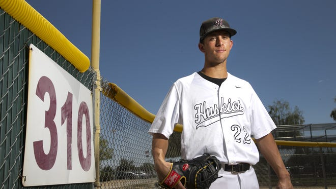 Nick Brueser, a Hamilton High junior first baseman is the azcentral sports big school baseball player of the year. He is seen at Hamilton High School in Chandler on May 20, 2016.