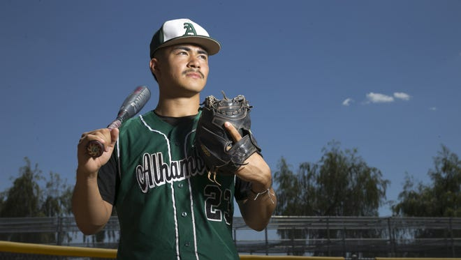 David Avitia of Alhambra High, a junior catcher is the azcentral sports small school baseball player of the year. He is seen at Hamilton High School in Chandler on May 20, 2016.