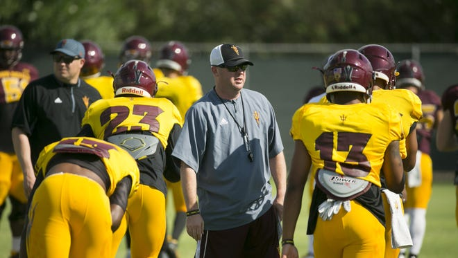 ASU offensive coordinator Chip Lindsey looks on during ASU football practice at the ASU practice facility in Tempe on Tuesday, August 23, 2016.