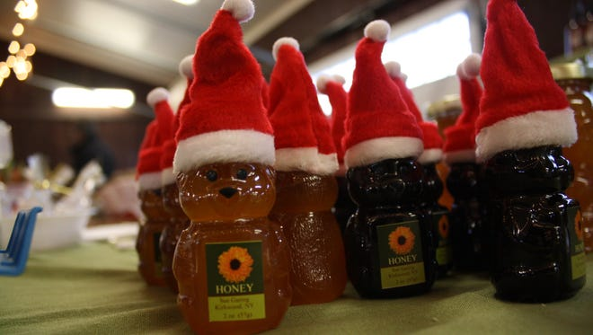 Sue Garing Honey sold festive honey during Saturday's Holiday Market at the Broome County Regional Farmers Market.