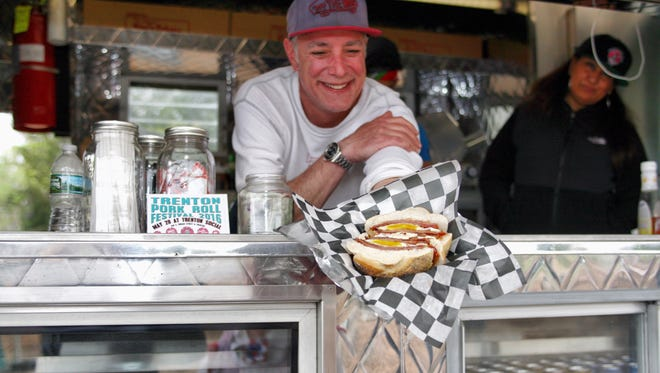 John Yaruis, pictured here in his food truck, Johnny's Pork Roll and Coffee Too, opened a store on Red Bank's Monmouth Street in November.