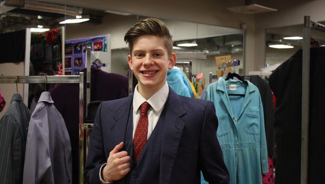 """Connor Kabat pays the lead role of of J. Pierrepont Finch in Johnson City High School's production of """"How to Succeed in Business Without Really Trying."""""""