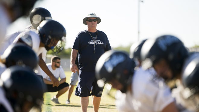 Higley High School head football coach Eddy Zubey during a high school football practice at Higley High in Gilbert on October 24, 2017.
