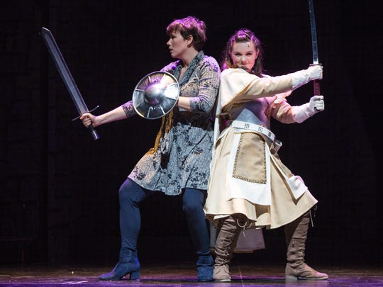 """Cast members Amy Hughes, left, and Amelia Mauriello of the production """"She Kills Monsters"""" during their first dress rehearsal at the Sugden Community Theatre in Naples on Wednesday, Oct. 4, 2017."""