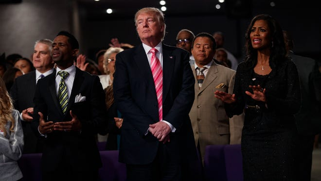 Republican presidential candidate Donald Trump attended a church service Sept. 3, 2016, at Great Faith Ministries in Detroit.