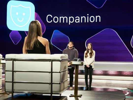 Jessica Alba (left) hears a pitch from Jake Wayne and