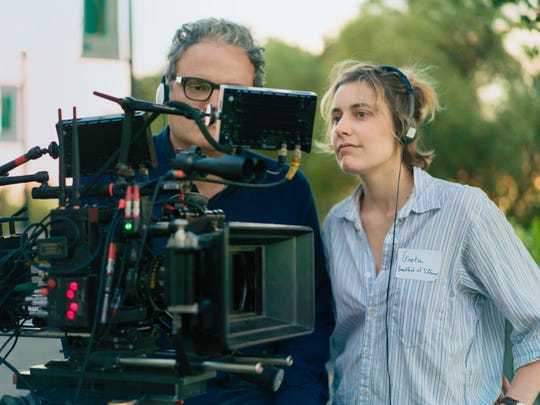 """Director Greta Gerwig (right) and cinematographer Sam Levy on the set of """"Lady Bird."""""""