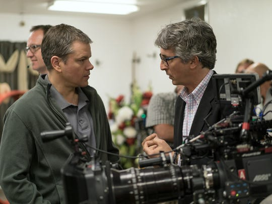 "Alexander Payne (right) directs Matt Damon in ""Downsizing."""
